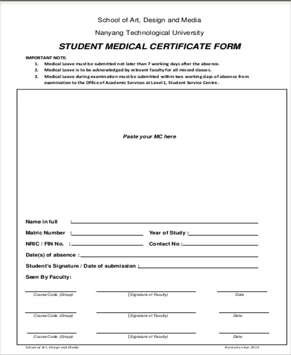 Sample Medical Certificate for School - 13+ Examples in Word, PDF - medical certificate download