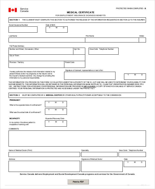 medical certificate of sickness template