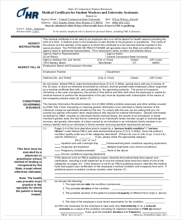 format of medical certificate for sick leave