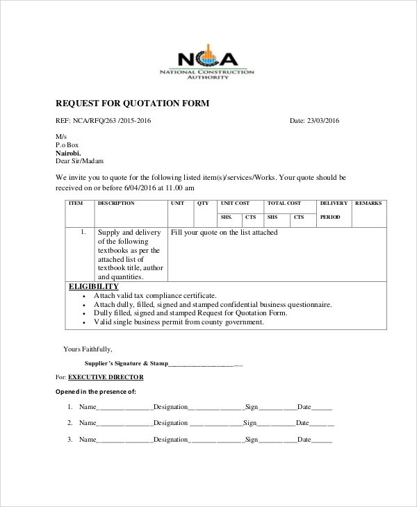 Sample Quotation Form - 10+ Examples in Word, PDF