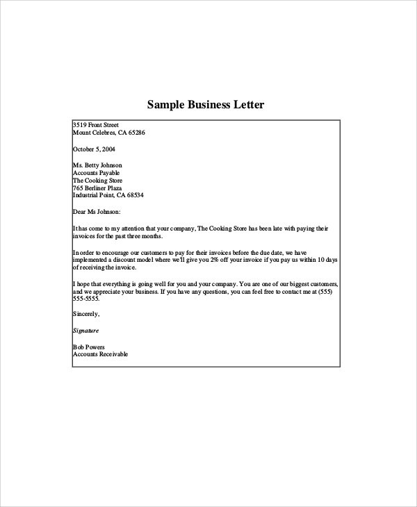 9+ Sample Company Business Letters Sample Templates - example business letter