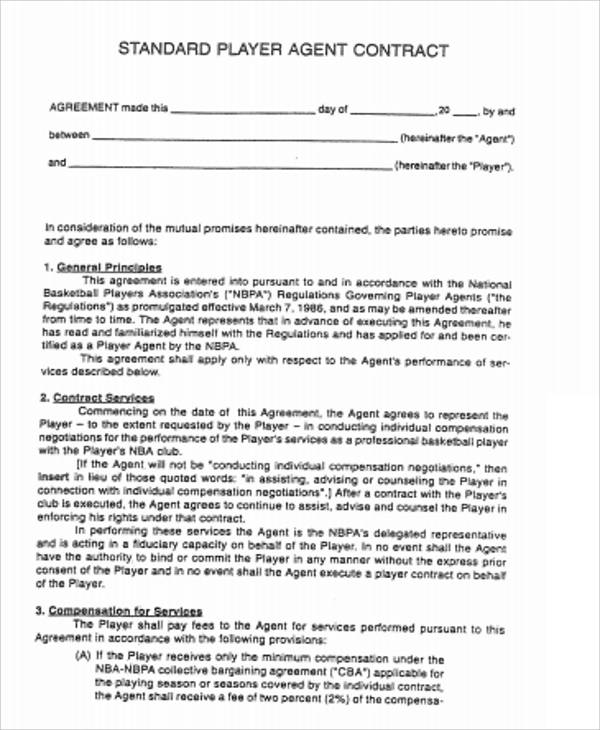 Agent Contract Agreement Standard Player Agent Contract Agreement - contract agreement format