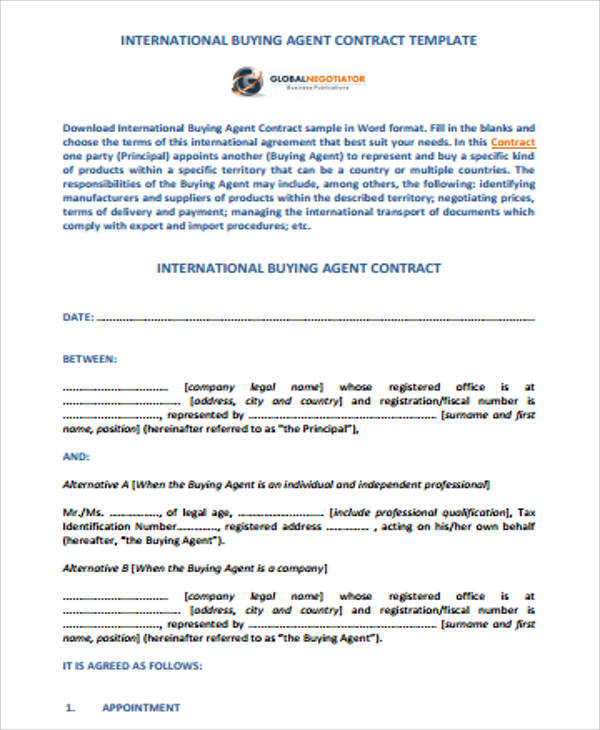 Agent Contract Template Kicksneakers