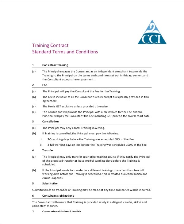 Training Agreement Contract Sample - 13 + Examples in Word, PDF