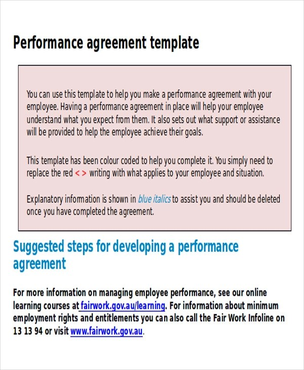 9+ Performance Agreement Contract Samples Sample Templates - performance contract templates