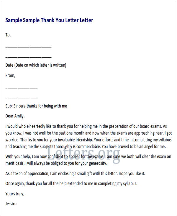 Sample Thank-You Letter to Teacher from Student - 4+ Examples in