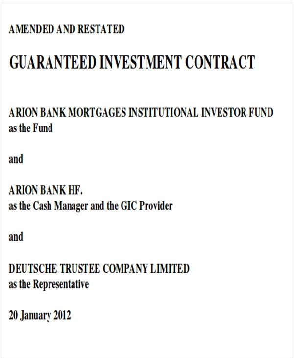7+ Sample Investment Contract Agreements Sample Templates