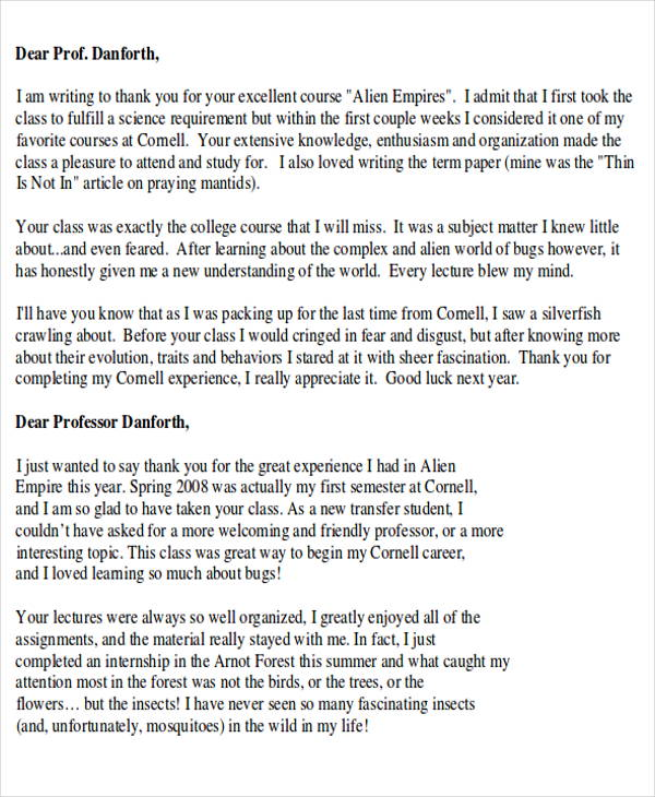 Sample Thank-You Letter to Teacher from Student - 4+ Examples in - ending thank you letters
