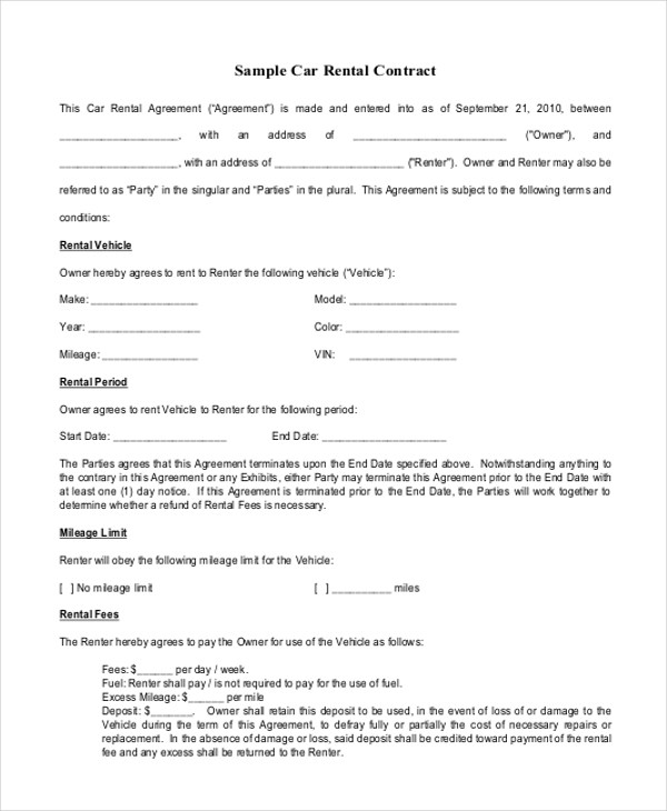 Sample Rental Contract Agreements - 8+ Examples in Word, PDF(anjanon - rental contract agreement