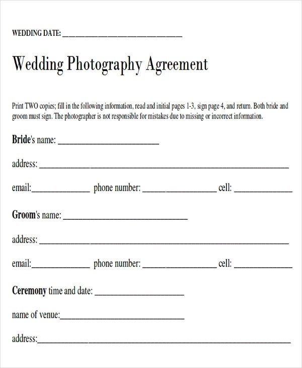 Photography Agreement Contract Template This