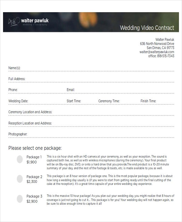 Sample Wedding Contract Agreements - 9+ Examples in Word, PDF - videography contract template