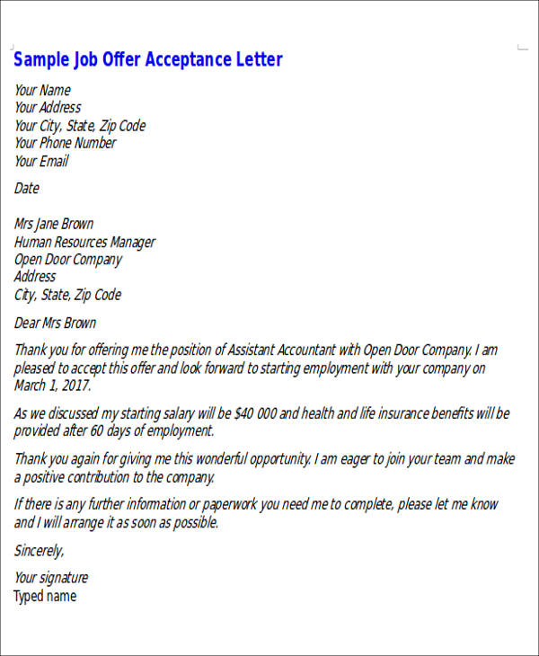 Job Offer Letters Sample Offer Letter Selling U Negotiating To - thank you email after job offer