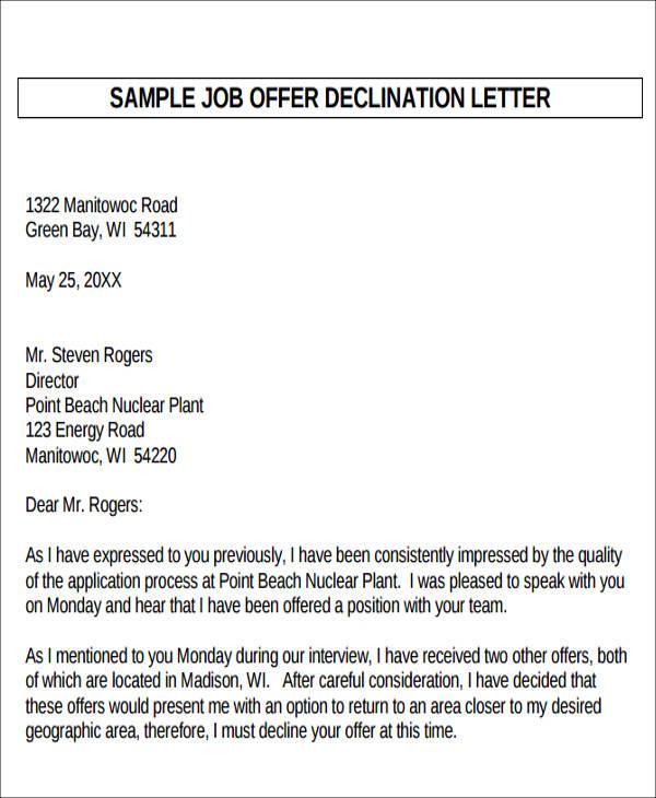 6+ Sample Formal Job Offer Letters Sample Templates - decline offer letter
