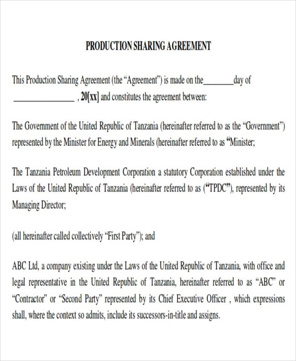 Production Sharing Agreement Image collections - Agreement Letter Format