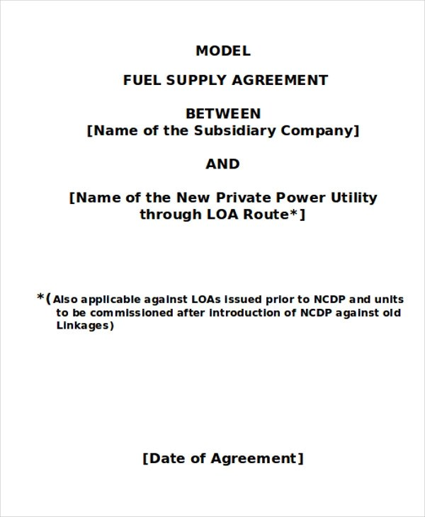Supply Contract Template Fuel Supply Supply Contract Templates