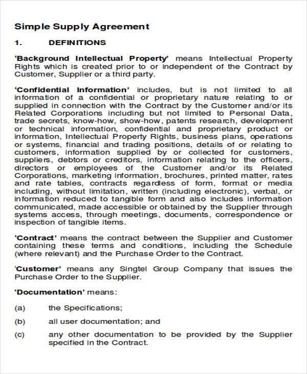 Supply Agreement Contract | Env 1198748 Resume.cloud .