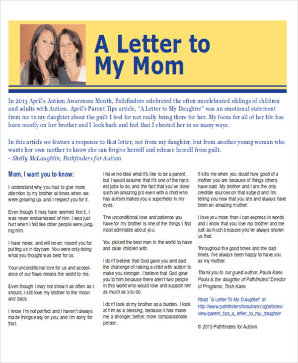 Thank You Letter To Mom thank you letter to parents free download
