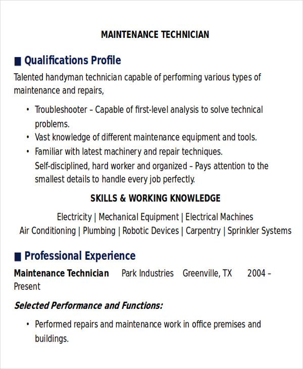 maintenance resume templates