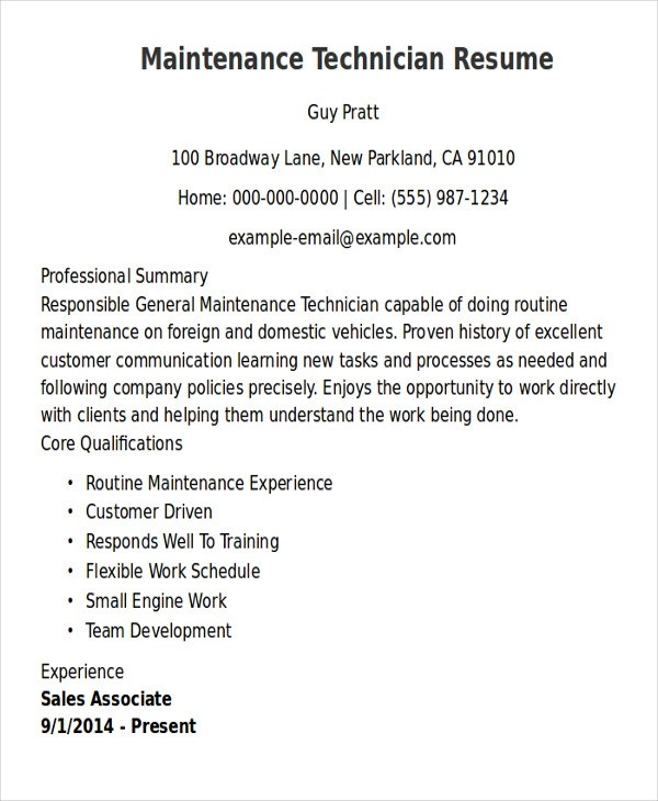 9+ Sample Maintenance Technician Resumes Sample Templates - doing a resume