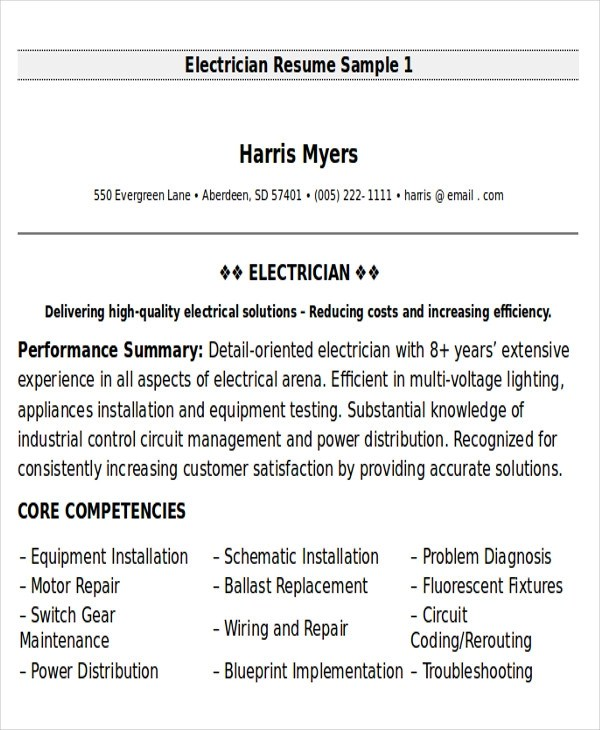 Sample Maintenance Technician Resume - 9+ Examples in Word, PDF - electrical technician resume