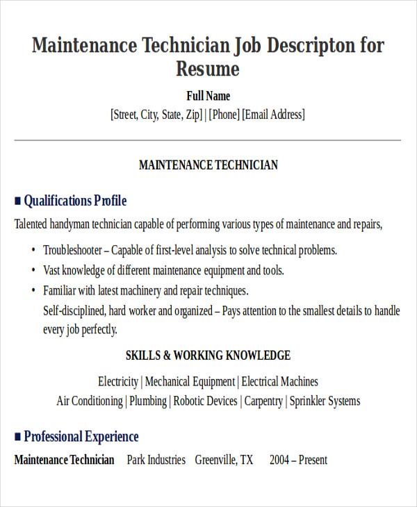 9+ Sample Maintenance Technician Resumes Sample Templates - Maintenance Job Description Resume