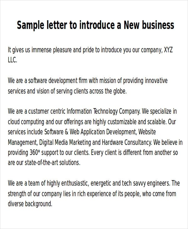 6+ Sample New Business Letters Sample Templates