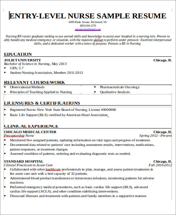7+ Sample New Nurse Resumes - Examples in Word, PDF