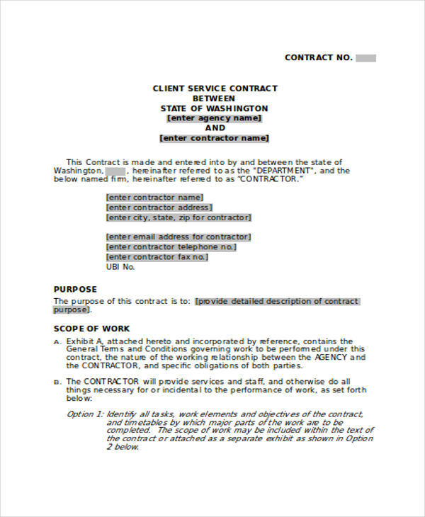 Service Contract In Word Service Contract Template In Google Docs - contract of service format