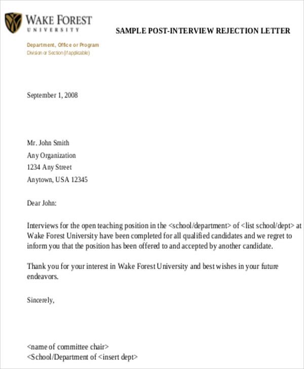 interview rejection letter - Denmarimpulsar