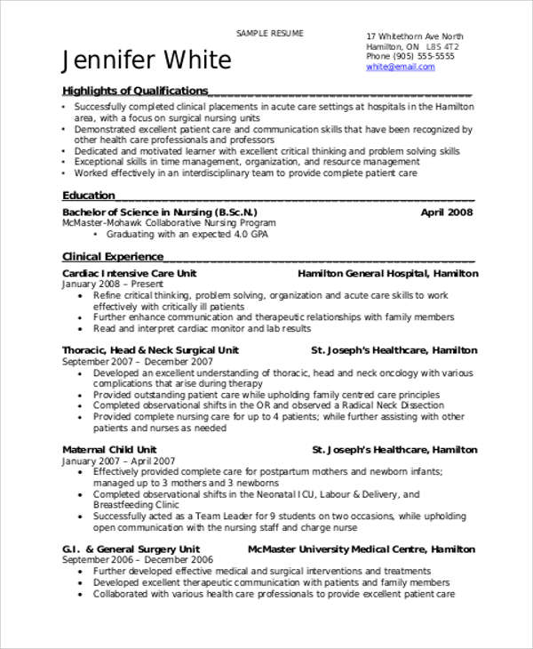 8+ Sample Student Nurse Resumes Sample Templates - Student Nurse Resume
