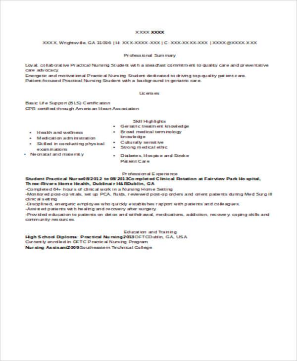 8+ Sample Student Nurse Resumes Sample Templates - sample of a student resume