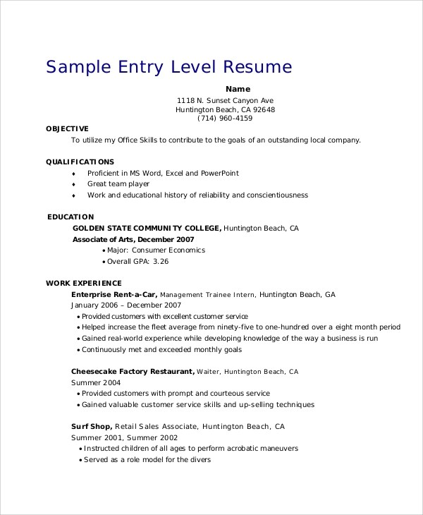 Retail Resume Objective - 5+ Examples in Word, PDF - Entry Level Resume Objectives