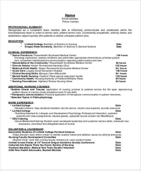 Sample Student Nurse Resume - 8+ Examples in Word, PDF - mental health nurse resume