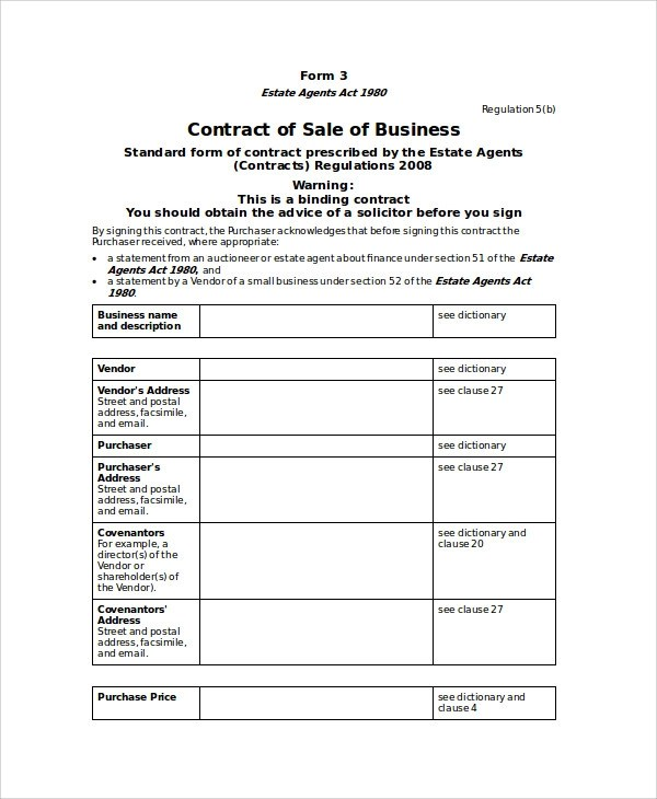 10+ Sample Sales Contract Agreements Sample Templates - business sale contract