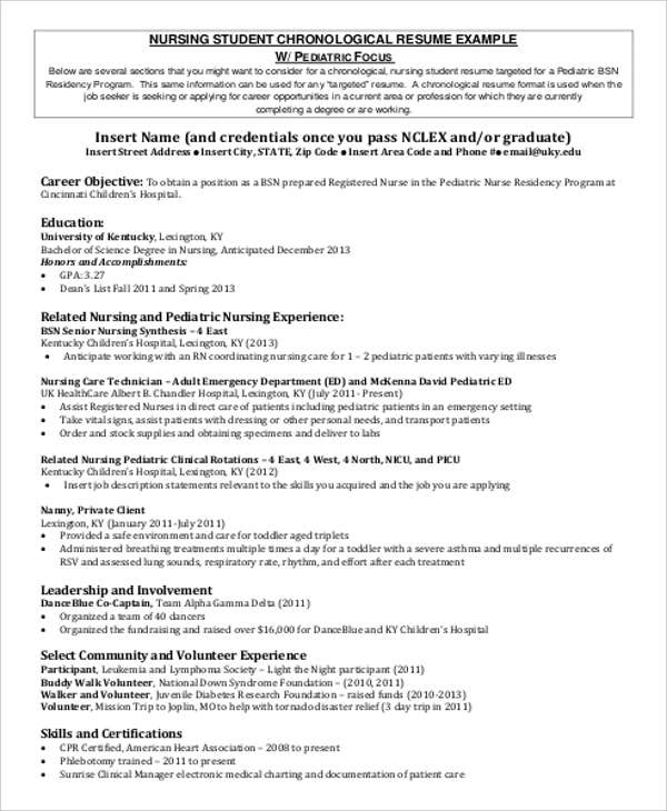8+ Sample Student Nurse Resumes Sample Templates - student nurse resume objective