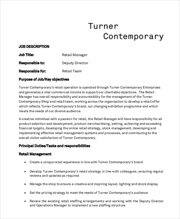 Retail Resume Objective - 5+ Examples in Word, PDF