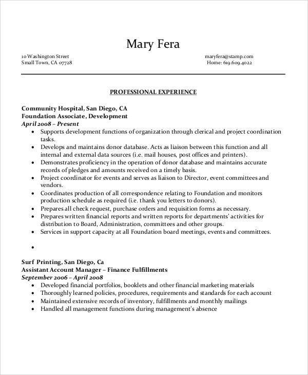 6+ Sample Executive Administrative Assistant Resumes Sample Templates