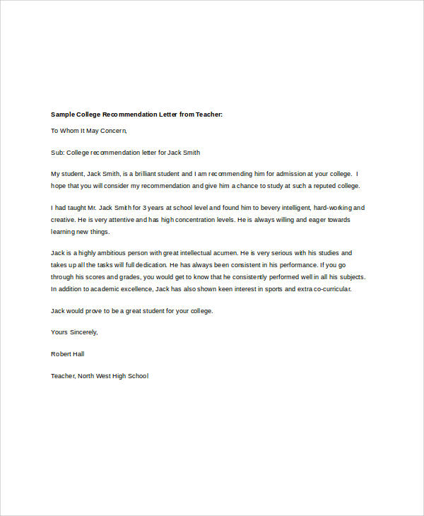 Samples Of Recommendation Letters For High School Students Gallery