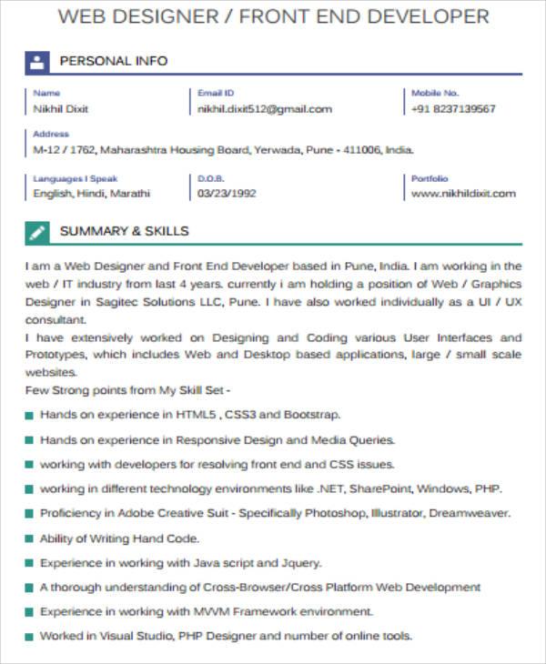 7+ Sample Front-End Developer Resumes Sample Templates - front end developer resume