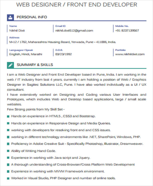 web developer resume examples 2017
