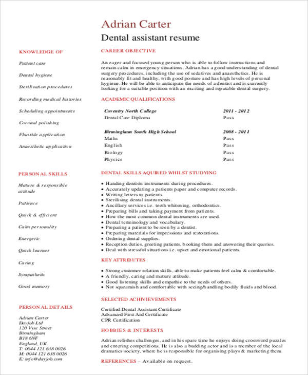 dental assisting resumes