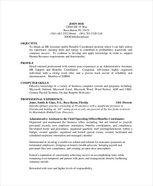 resume objective examples administrative position
