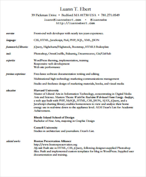7+ Sample Front-End Developer Resumes Sample Templates - perl programmer resume