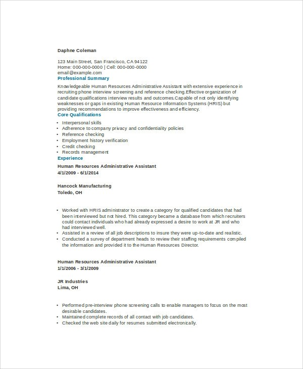 Sample Admin Assistant Resume - 9+ Examples in Word, PDF - admin asst resume
