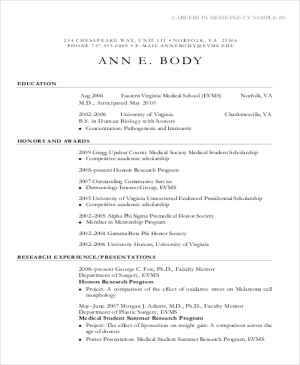 Medical Student CV Sample - 7+ Examples in Word, PDF