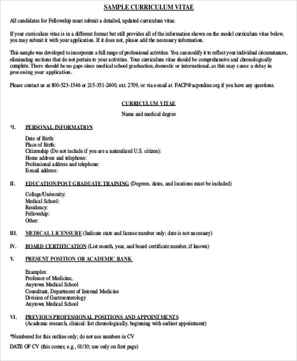 Sample Cv Medical Residency – Medical Student CV