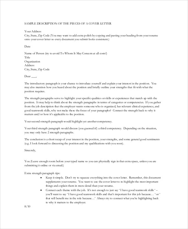 8+ Nursing Cover Letter Example - Free Sample, Example, Format Download