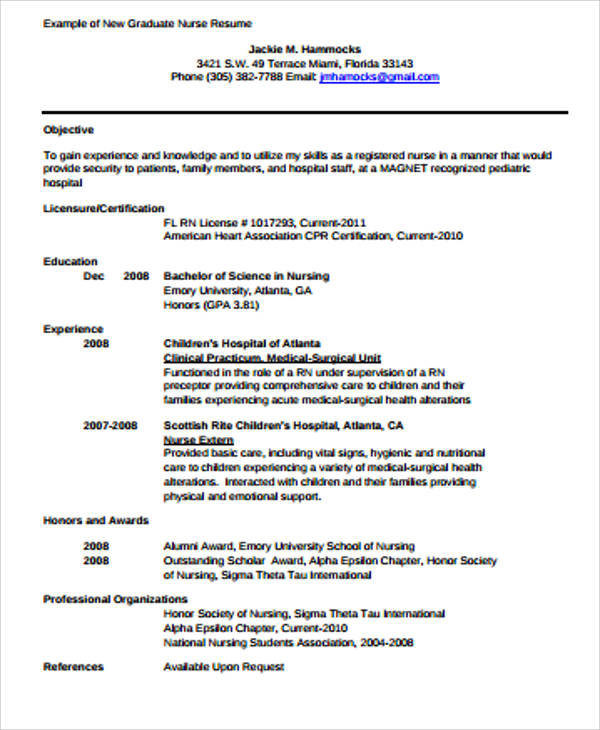 4+ Sample Graduate Nurse Resumes Sample Templates - sample new nurse resume