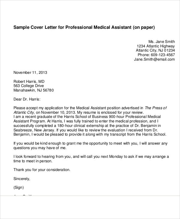 7+ Cover Letter Medical Assistant Sample Templates - cover letter for a medical assistant