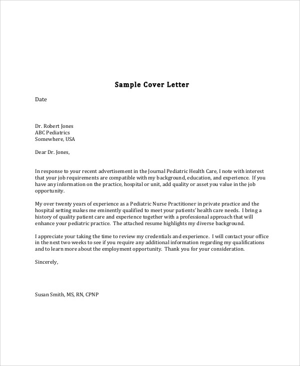 sample cover letter registered nurse